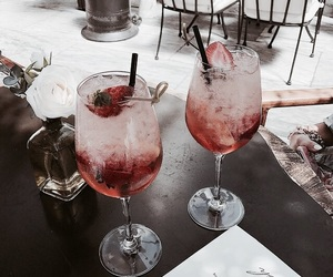 drink, cocktail, and strawberry image