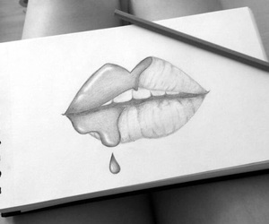 black and white, draw, and lips image