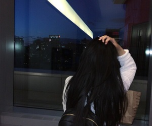 backpack, black hair, and city image