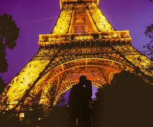 eiffel tower, kiss, and vacation image