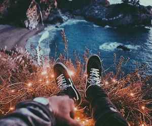 beach, lights, and vans image