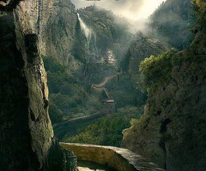 china, mountains, and trees image