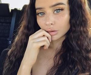 dress, green eyes, and hair goals image