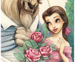 beast, belle, and disney image