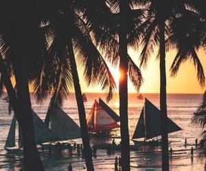 beach, ocean, and sailboat image