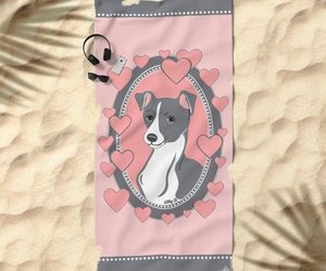 italian greyhound, beach towel, and pink image