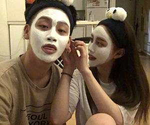 couple, dating, and face mask image