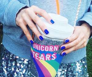 unicorn, nails, and rainbow image