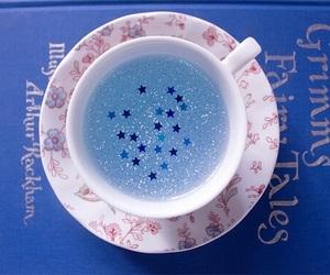stars, blue, and tea image
