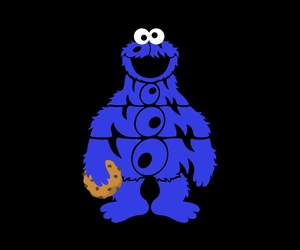 cookie monster, typography, and illustration image