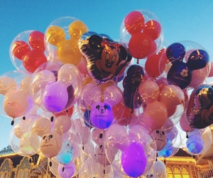 balloons, mickey mouse, and disney image