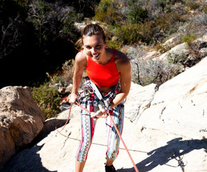model and rock climbing image