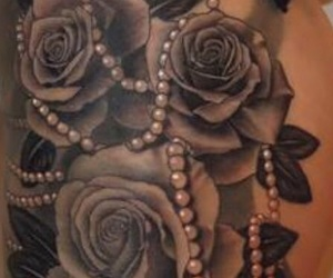 pearls, roses, and tattoo image