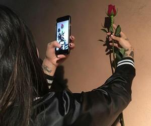 girl, rose, and grunge image
