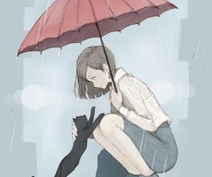 girl, neko, and lluvia image