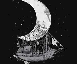 boat, space, and stars image