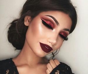 beautiful, glitter, and makeup image