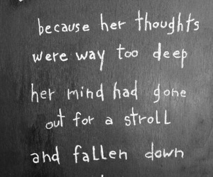 quote, alice in wonderland, and thoughts image