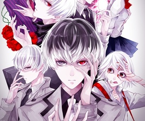 anime boy, tsukiyama, and kaneki image
