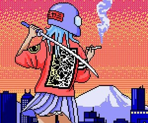 girl, japan, and pixel image