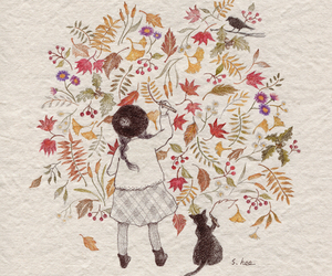 cat, girl, and leaves image