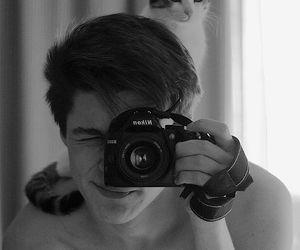 cat, boy, and camera image