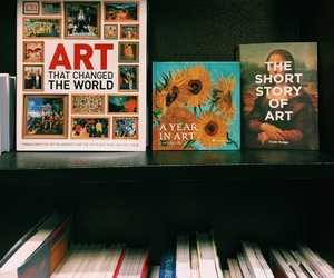 art, books, and paintings image