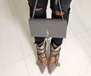 bag, grey, and high heels image
