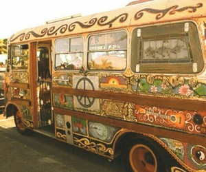 hippie, peace, and bus image