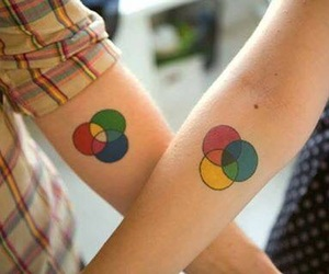 tattoo, couple, and colors image