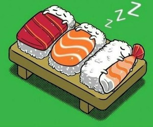sushi, cute, and sleep image