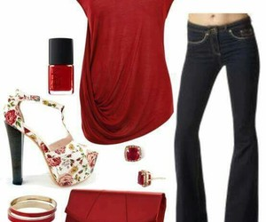 outfit fashion red jeans image