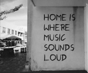 music, home, and black and white image
