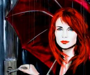 blue eyes, rain, and redhead image