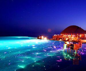 light, pool, and night image