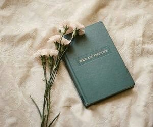 book, flowers, and pride and prejudice image