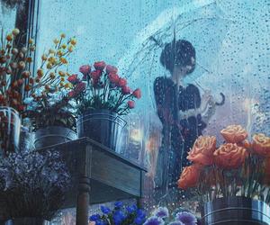 rain, art, and flowers image