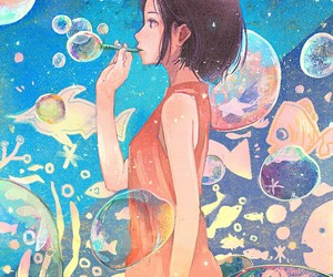 anime, art, and bubbles image