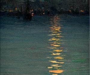 art, dark, and full moon image