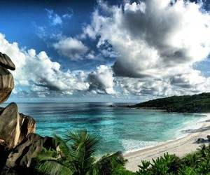 beach, sea, and seychelles image