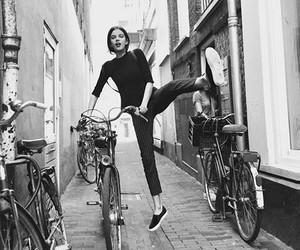bike, black and white, and girl image