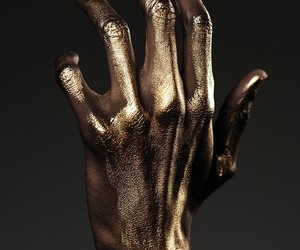 art, gold, and hand image