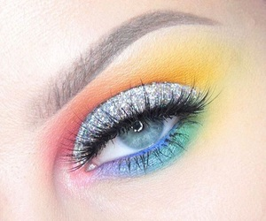 beauty, makeup, and rainbow image