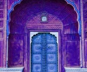 door, purple, and blue image