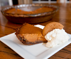 pie, pumpkin, and whipped cream image
