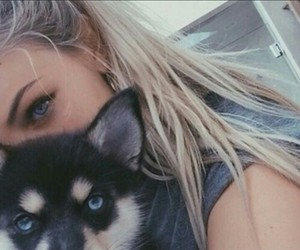 cute dog and woman image