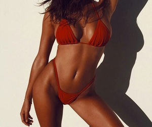 beautiful, bikini, and red image