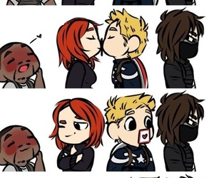 captain america, black widow, and bucky image