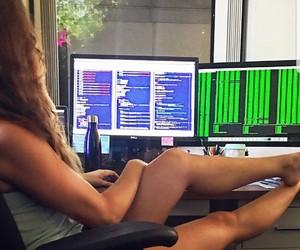 desk, girl coder, and programmer image