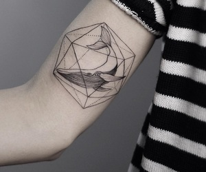 black & white, geometric shapes, and tattoo image